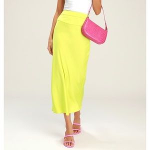 Free People lime bias skirt